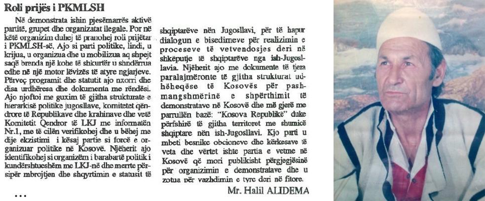 """Pjese te shkëputura nga punimi """"BUNTI ATDHETAR I PRANVERËS '81"""" i veprimtarit atdhetar Halili Alidema, themelues i UNIMOMB-it dhe i celulave të para të UÇK-së"""