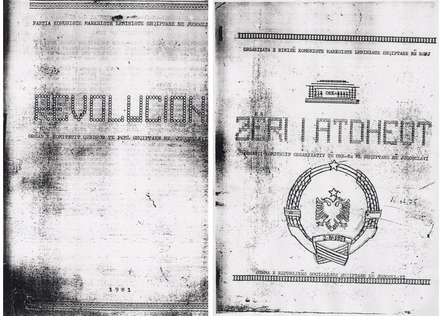 """Gazetat """"REVOLUCIONI"""" e """"ZËRI I ATDHEUT"""" të nxjerra në ilegalitet në Prishtinë e Ferizaj në verë 1981"""