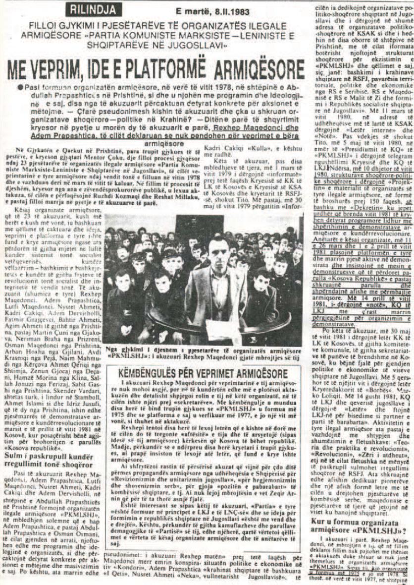 Siç dëshmon gjyqi kundër PKMLSHJ më 8.2.1983, Rilindja shpesh përdorte edhe gjuhën e armikut