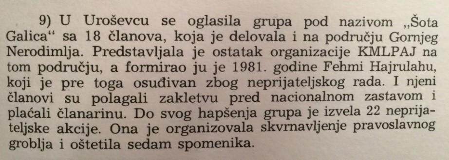 """Pjesë nga libri i Sinan Hasanit, botim në gjuhën serbokroate nga """"Qendra për informata dhe publicitet"""" 1986, Zagreb"""