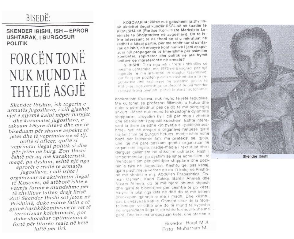 Intervista e Haqif Mulliqit me Skender Ibishin pas daljes nga burgu , në fillim të viteve të 90-ta