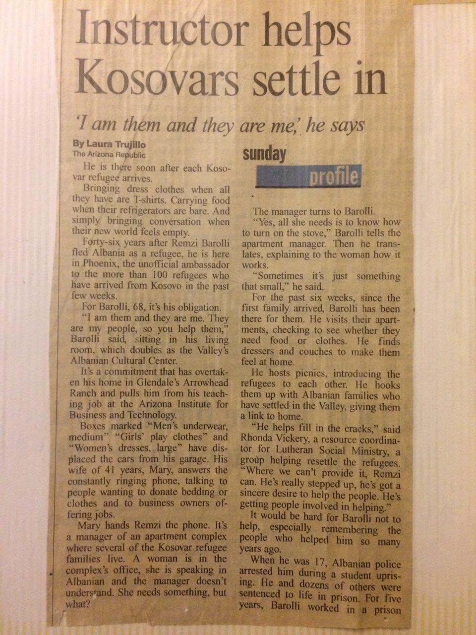 """Pjesë e artikullit të gazetares Laura Truhillo për veprimtarin e palodhshëm R. Barolli, publikuar në të përditshmen """"The Arizona Republic"""" më 27.6.1999"""